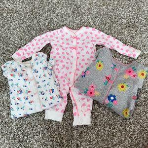 Set of 3 Carter's Girls Newborn Pajamas